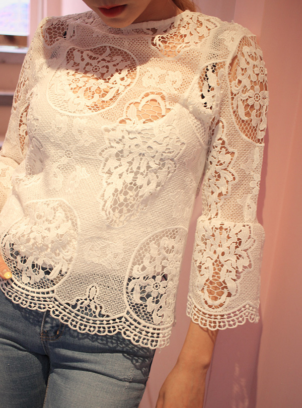 LACE WIDE CUFFS 블라우스