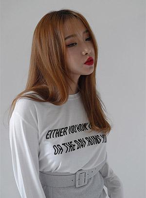 커브 레터링 굿 티셔츠