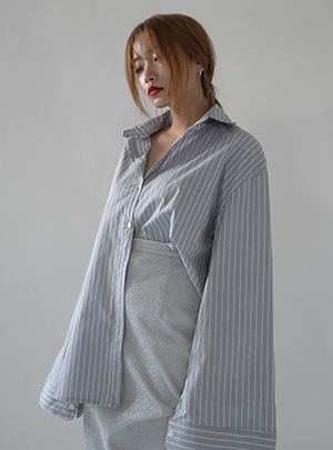 잔스트라이프 하프컷 셔츠